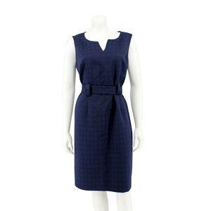 Jones New York Blue Textured Woven Belted Dress